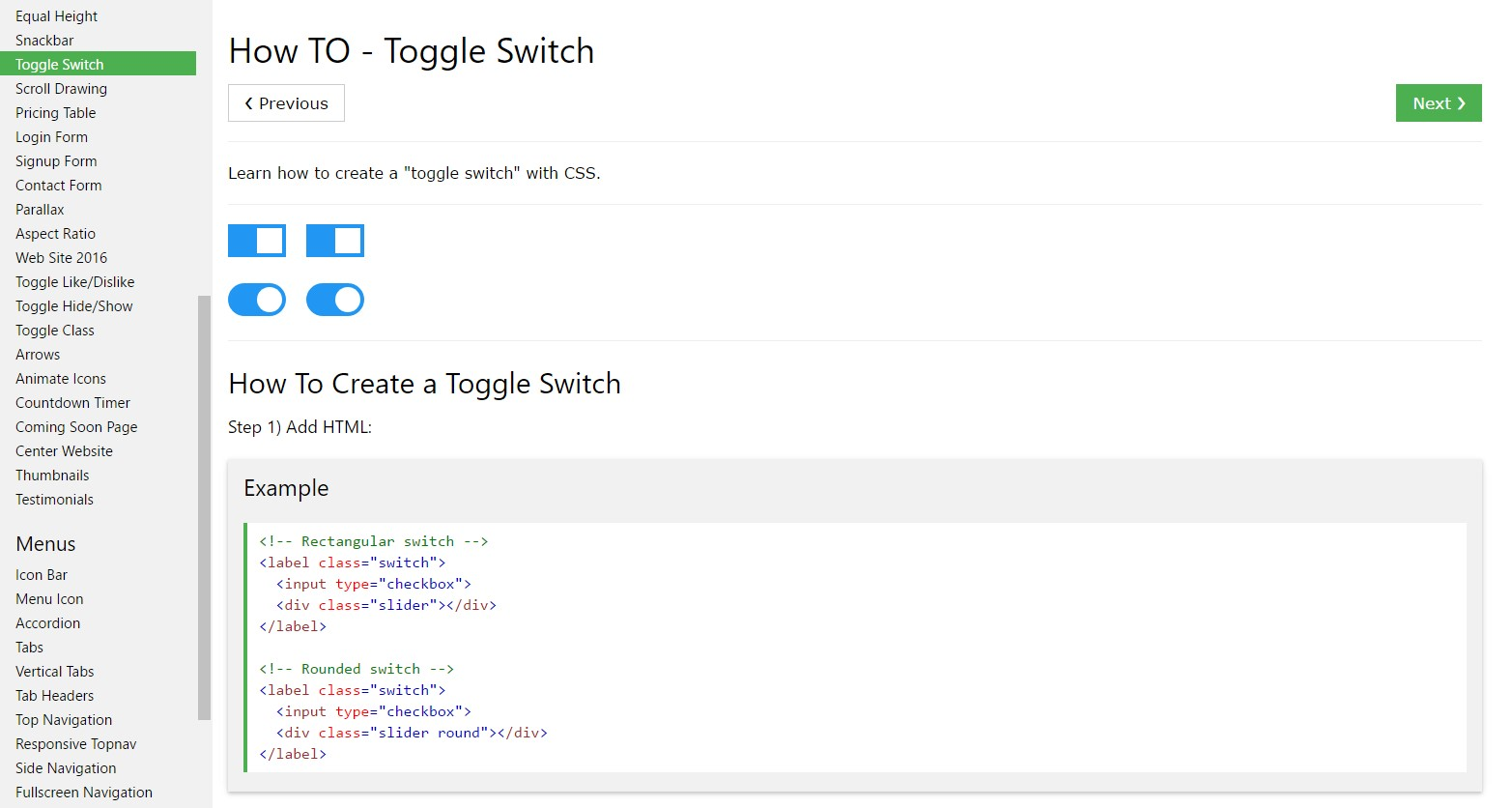 The best way to  generate Toggle Switch