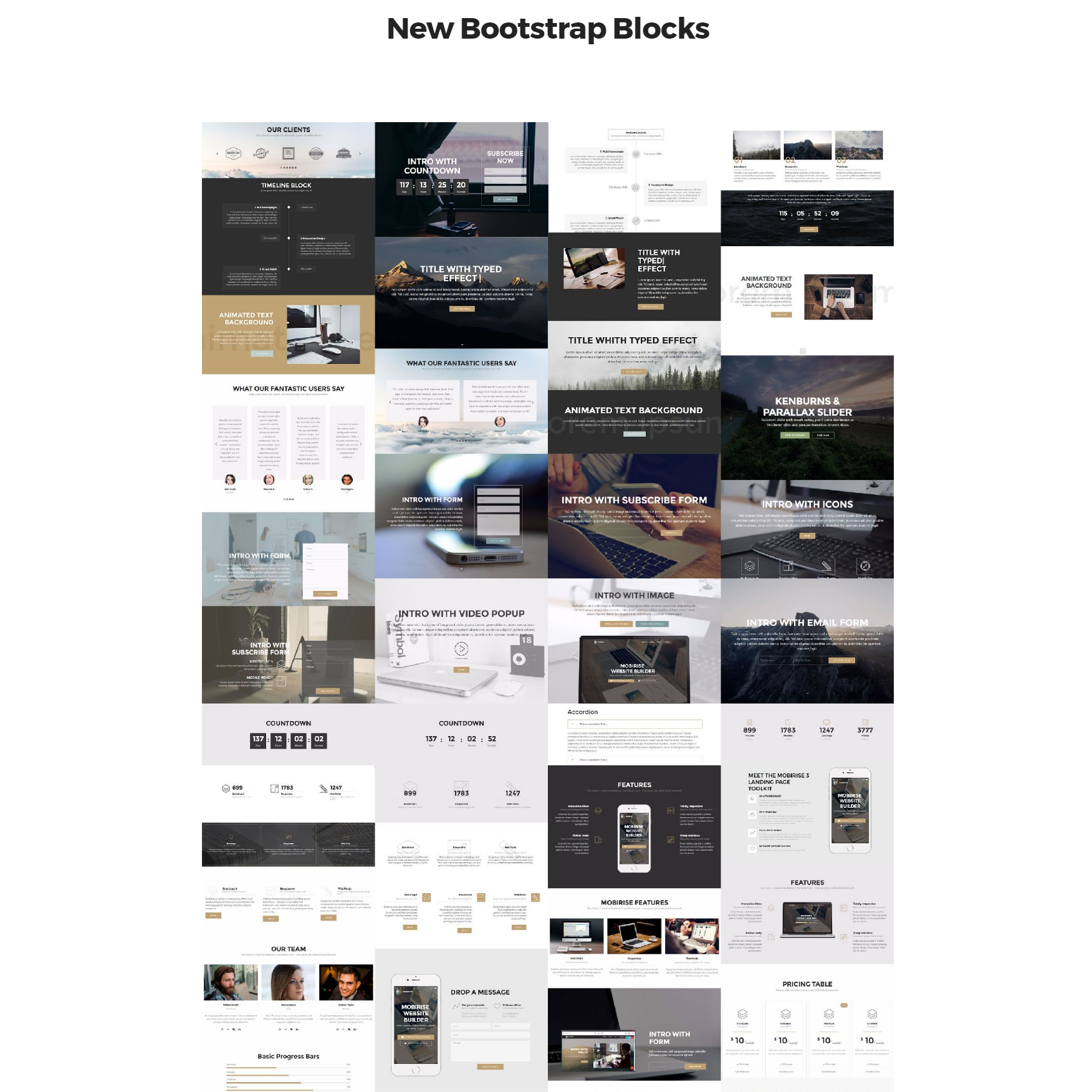 CSS3 Bootstrap 4 mobile-friendly blocks Themes